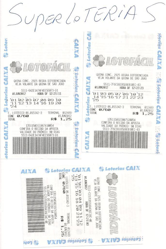 3 cartões com 11 pontos concurso 760 LOTOFACIL Concurso760