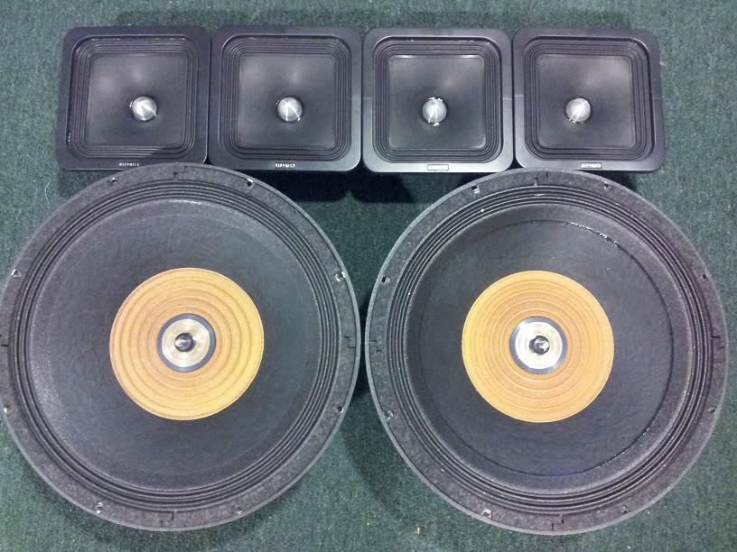 """FS: (2) 18"""" Cerwin Vega Strokers DVC 2 ohms, (4) 8"""" Square Hifonic SQ8s, (1) Power Acoustik BAMF 5500 20120611_204255"""