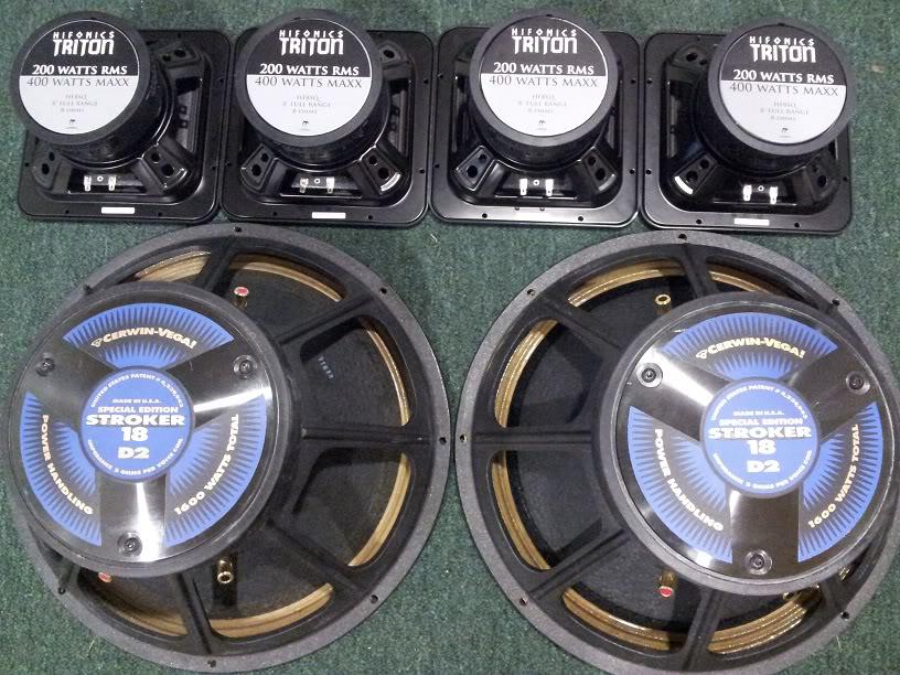 """FS: (2) 18"""" Cerwin Vega Strokers DVC 2 ohms, (4) 8"""" Square Hifonic SQ8s, (1) Power Acoustik BAMF 5500 20120611_204525"""