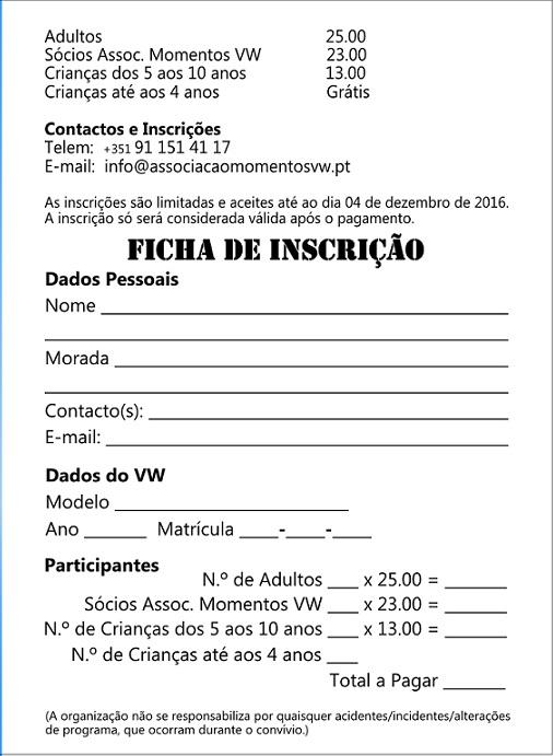12º Convívio de Natal de Amigos dos VW Clássicos - 10 Dez. 2016 - Póvoa de Varzim FICHA_zpszs2wh8yy