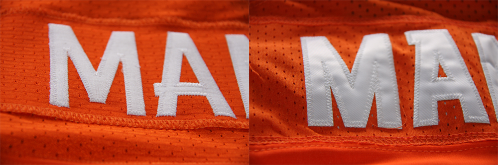 Real Vs Fake - 2012 Nike Elite Jersey Comparison LetteringComparison