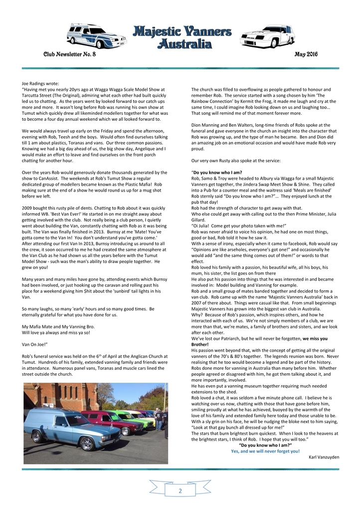 Majestic Vanners Newsletter Issue No. 8 May 2016 02_zpsvzgwfykc