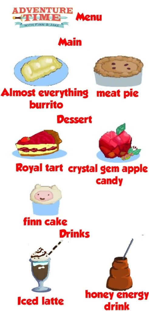 Items and Recipes Suggestions: Adventure Time [+] Adventuretimemenu