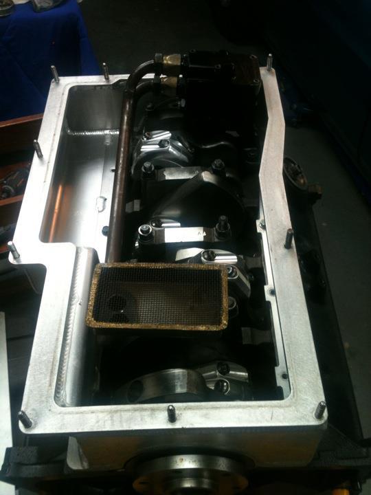 Billet fabrication Jeff Johnston 2 peice aluminum oil pan w/ Titan pump & pick-up Oilpan_zps92808c55