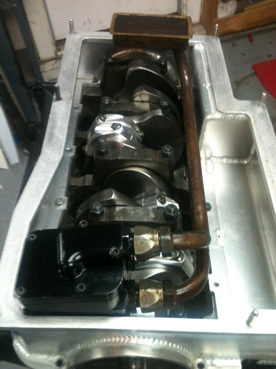 Billet fabrication Jeff Johnston 2 peice aluminum oil pan w/ Titan pump & pick-up Titanoilpump