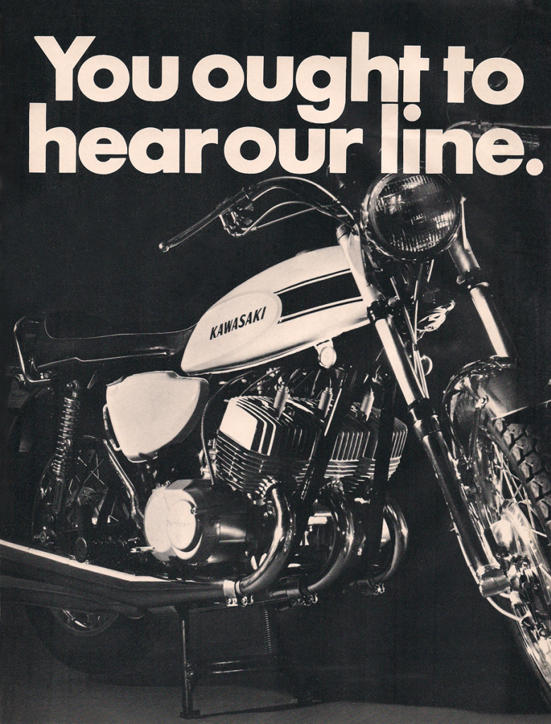 Vintage Kawasaki Mach III 500 Triple 1969 Advertisement HearOurLine1200_zps4ecd0f94
