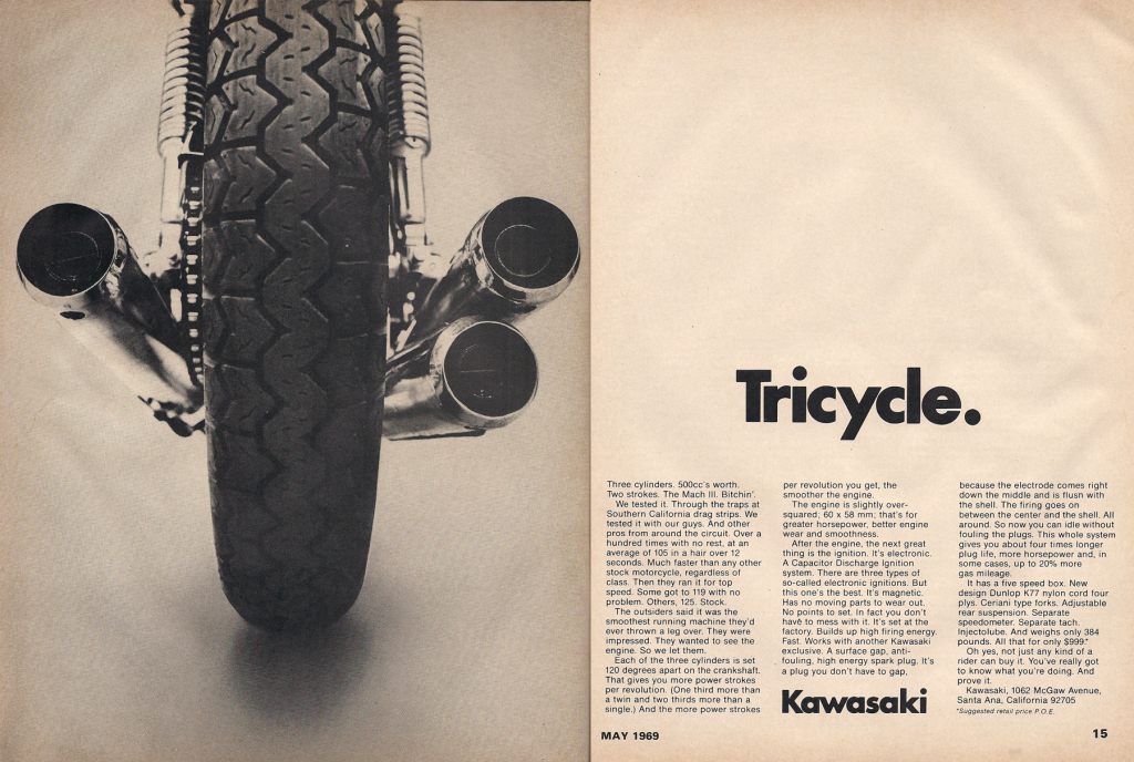 Vintage Kawasaki Mach III 500 Triple 1969 Advertisement Tricycle1200_zpscb5d0721