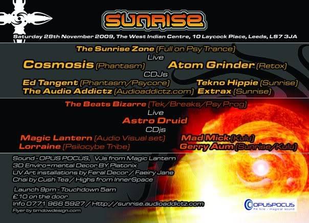 28/11/09 – SUNRISE….A New Dawn @ West Indian Centre. Leeds Sunriseback