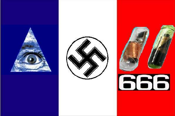 2012 : PISTAGE DES CITOYENS : SATELLITES, CAMERAS, SCANNERS, BASES DE DONNEES, IDENTITE & BIOMETRIE FrenchFlag_NewNaziWorldOrder_chip