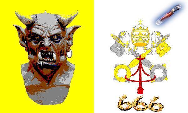 2012 : PUCES IMPLANTABLES, RFID, NANOTECHNOLOGIES, NEUROSCIENCES, N.B.I.C., TRANSHUMANISME  ET CYBERNETIQUE ! - Page 5 VATICAN_drapeau_diable_puce_666