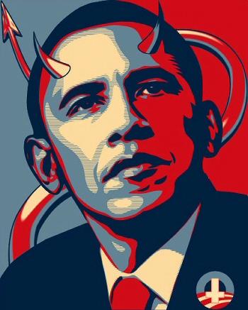 2013-2016 : 666, PUCES IMPLANTABLES, RFID, NANOTECHNOLOGIES, NEUROSCIENCES, N.B.I.C., TRANSHUMANISME ET CYBERNETIQUE ! - Page 2 Obama-satan-poster-350_zpsa6942ae5