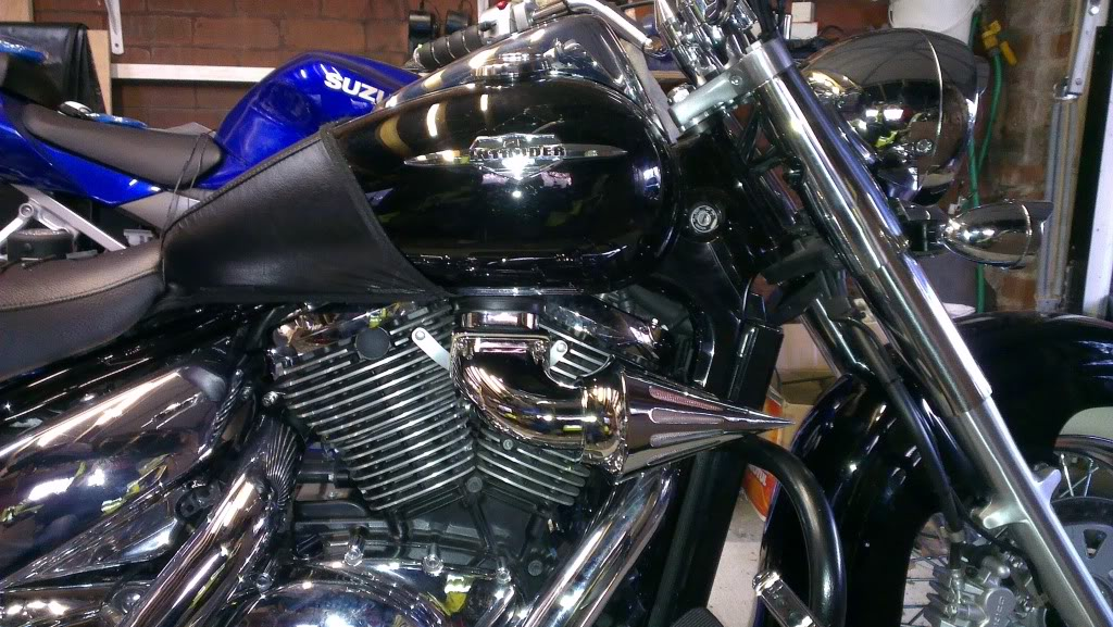 Chromed Spiked Cone Air Filter From Suzuki M109 - C800 Conversion Airfilter