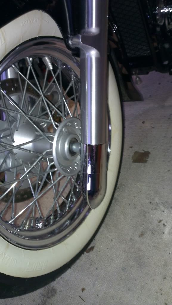Chrome Fork End Cover Mod -  Suzuki C800 / C50 Fitted