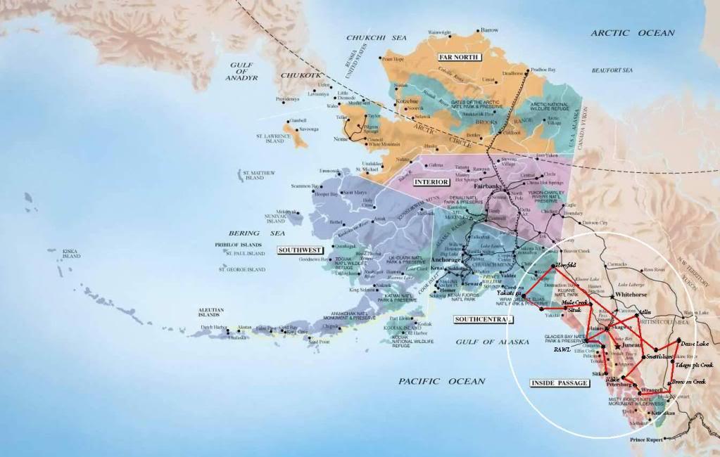 Por onde ja passei e por onde quero passar AlaskaTourAA