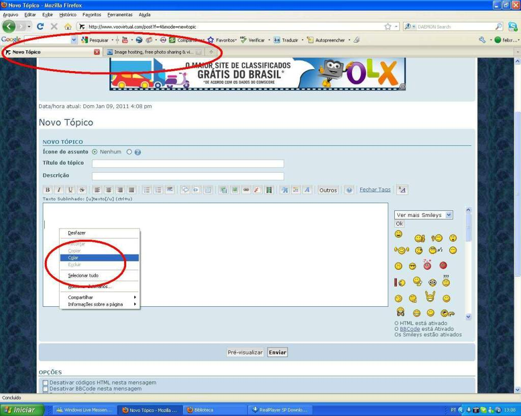 Aprenda a Postar Screens nos Foruns aqui do VooVirtual RICARDO-2011-jan-9-020