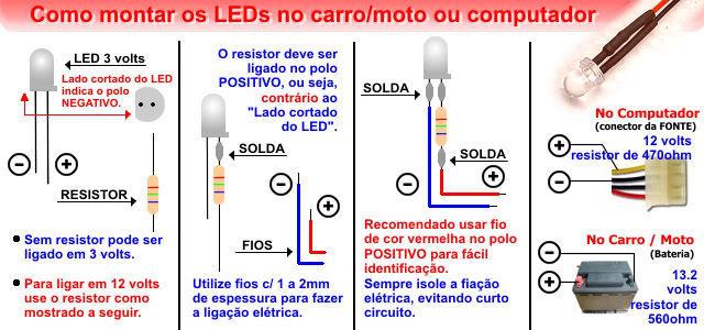 Conhecendo componentes eletronicos Montagem_leds
