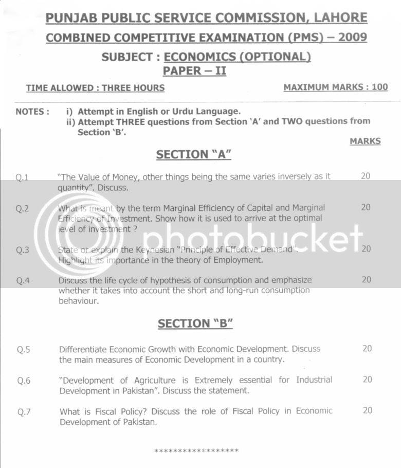 PMS Paper  Economics 2009. Economics2