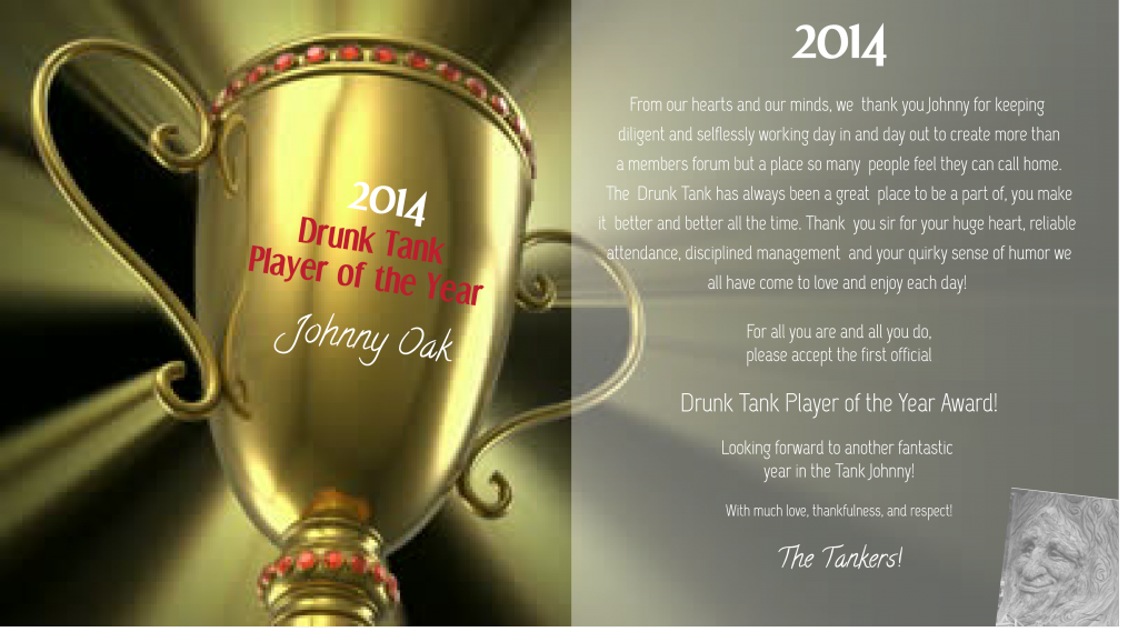 The Drunk Tank 2014 Player of the Year Trophy DRUNKTANKPLAYEROFTHEYEAR2014