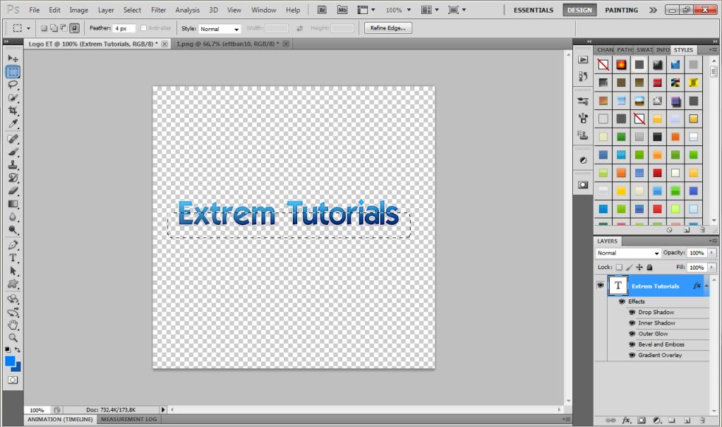 Cum realizam un text frumos cu reflexie in Photoshop 2