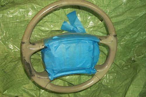 Preserving or refinishing painted vinyl steering wheel Adhesive_wet