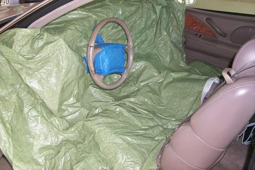 Preserving or refinishing painted vinyl steering wheel Drop_cloth