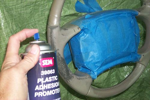 Preserving or refinishing painted vinyl steering wheel Sem_adhesive