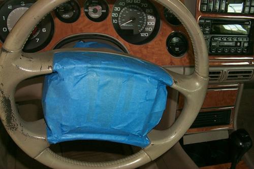 Preserving or refinishing painted vinyl steering wheel Tape_1