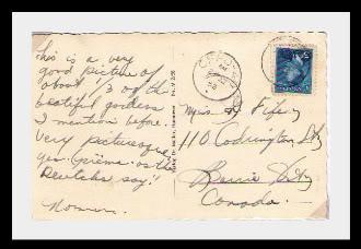 Canadian Postal Corps, 1951-53 1952PostcardHannovertobarrieOt-1-1