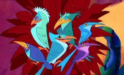 Los animales y flora en las películas de animación. Aves
