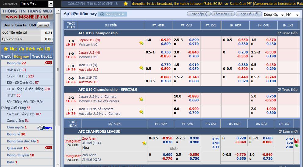Hướng dẫn cá độ bóng đá online tại M88 3-3