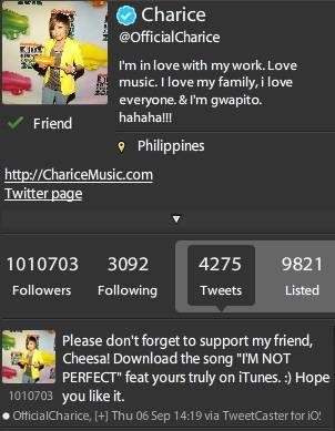 09/30/12 -Magnus Today - Charice @OfficialCharice Reaches One Million Twitter Followers Charice1million