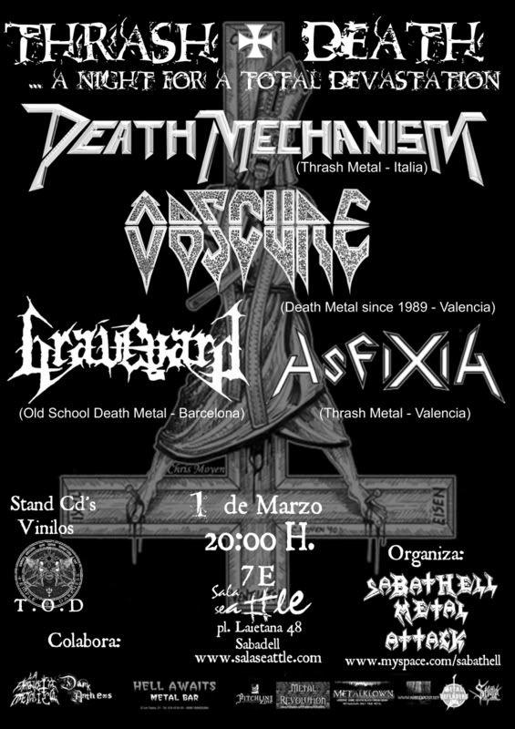 Death mechanism + Obscure + Graveyard + Asfixia en Sabadell 1marzo