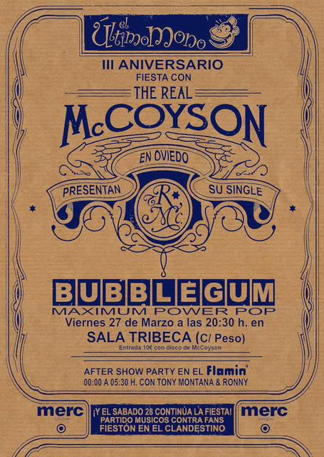 THE REAL McCOYSON + BUBBLEGUM. V-27. OVIEDO CARTEL-MONO-PARTY-FINAL2