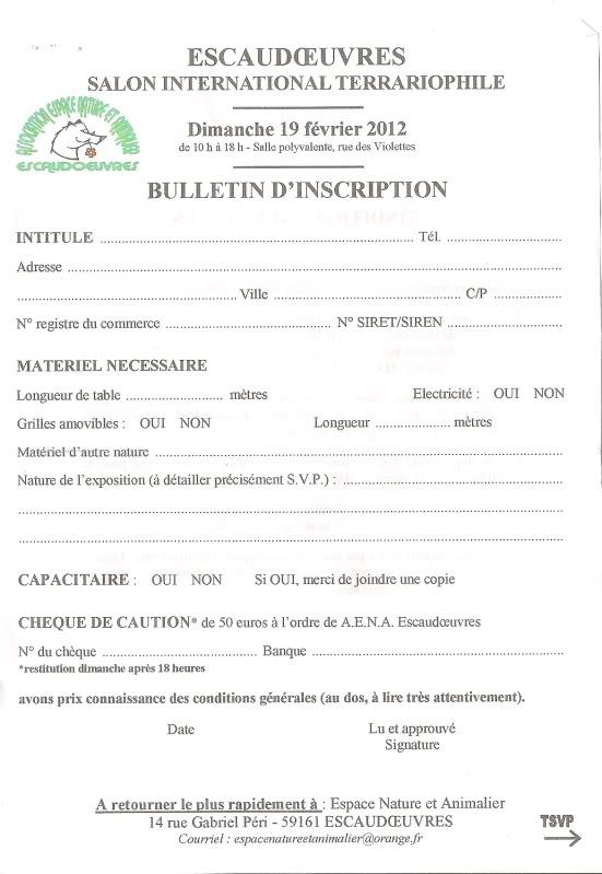 2eme bourse d'Escaudoeuvres le 19.02.2012  Inscription