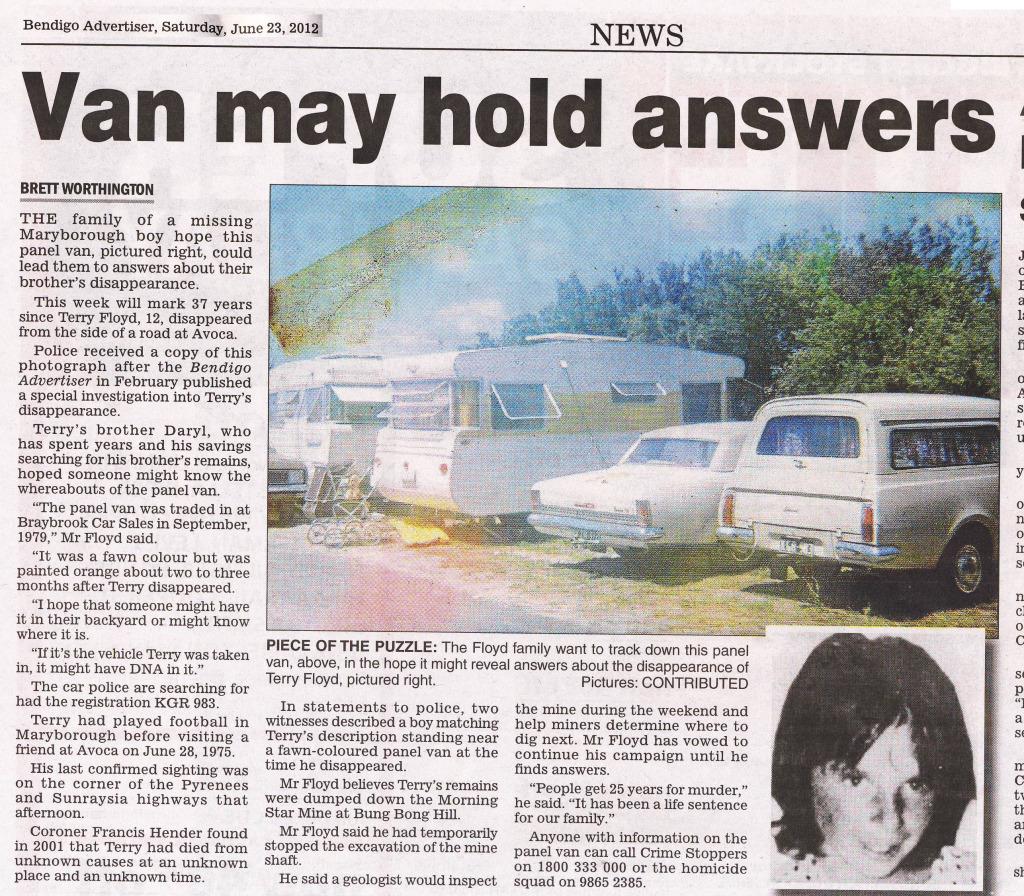 Van may have crime history Vansearch