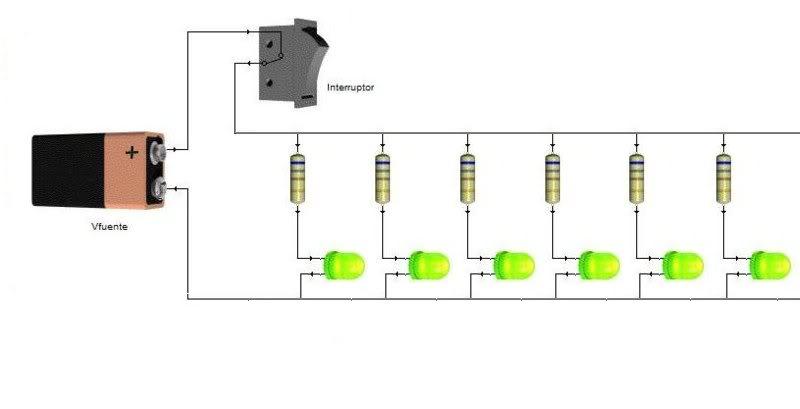 costo y forma de hacer luces led 800px-circuito_basico_de_polarizacion_directa_de_varios_leds