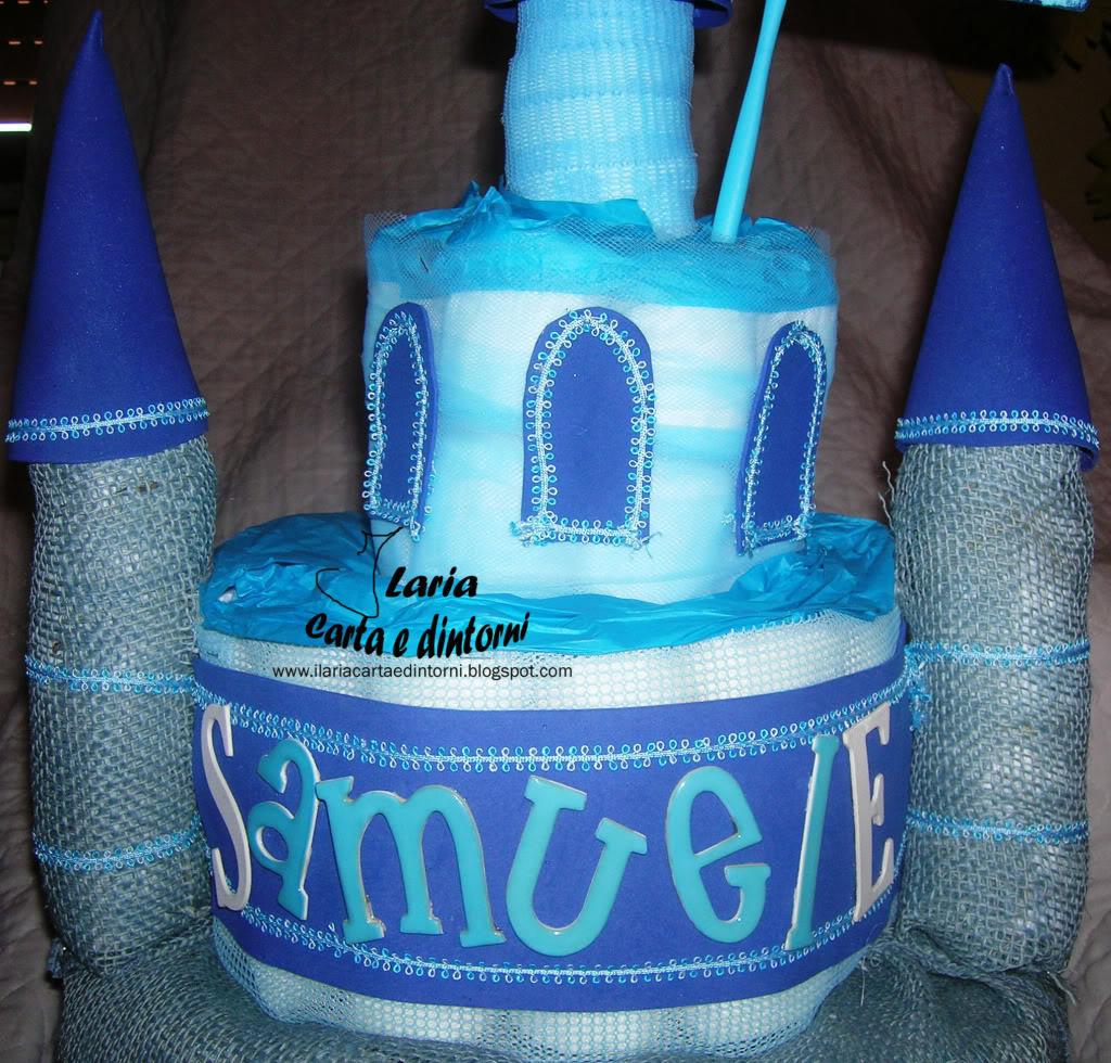 Torta di pannolini: Il Castello di Samuele CastelloBluPartCentrale
