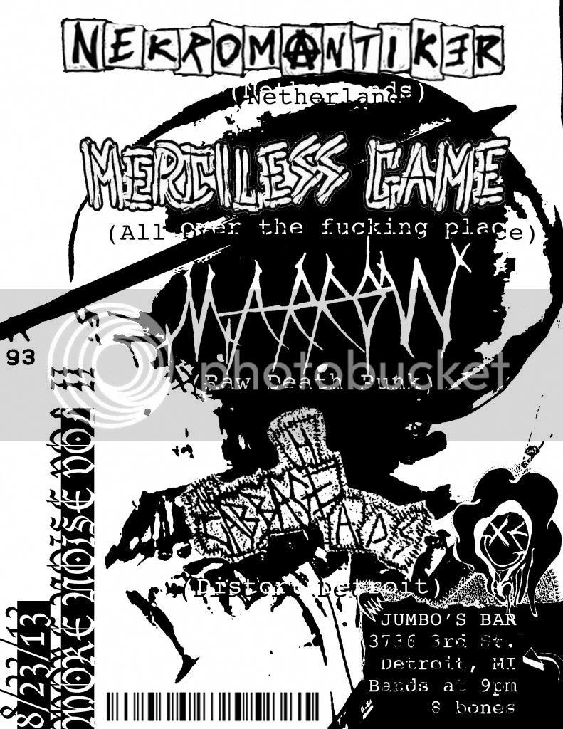 8/23/13 NEKROMANTIKER, MERCILESS GAME, CABBAGE HEADS, MARROW @ JUMBOS BAR Nekroflyer_zpsf56db366