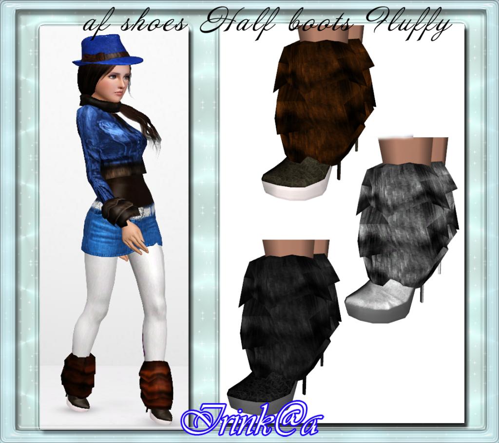 Jacket, Mini Skirt, Half boots, Hat with a bow by Irinka AfshoesHalfbootsFluffybyIrinka