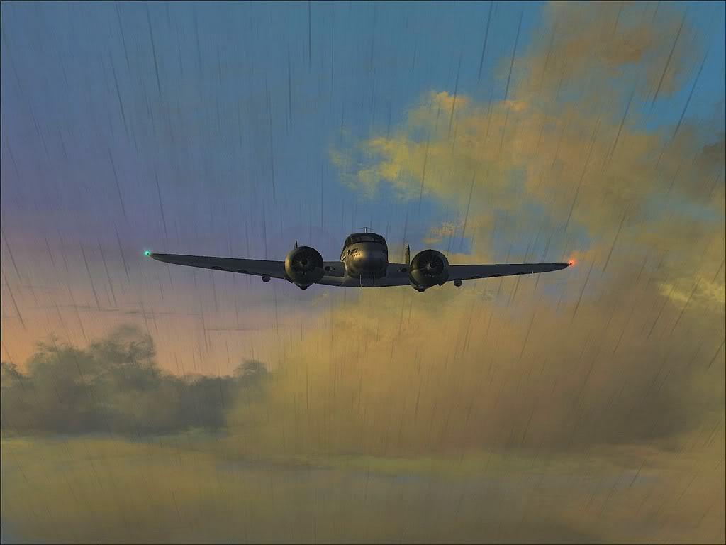 [FS9] - Beechcraft D18 da SATA voando ao fim da tarde nos Açores Beech_D18SATA02