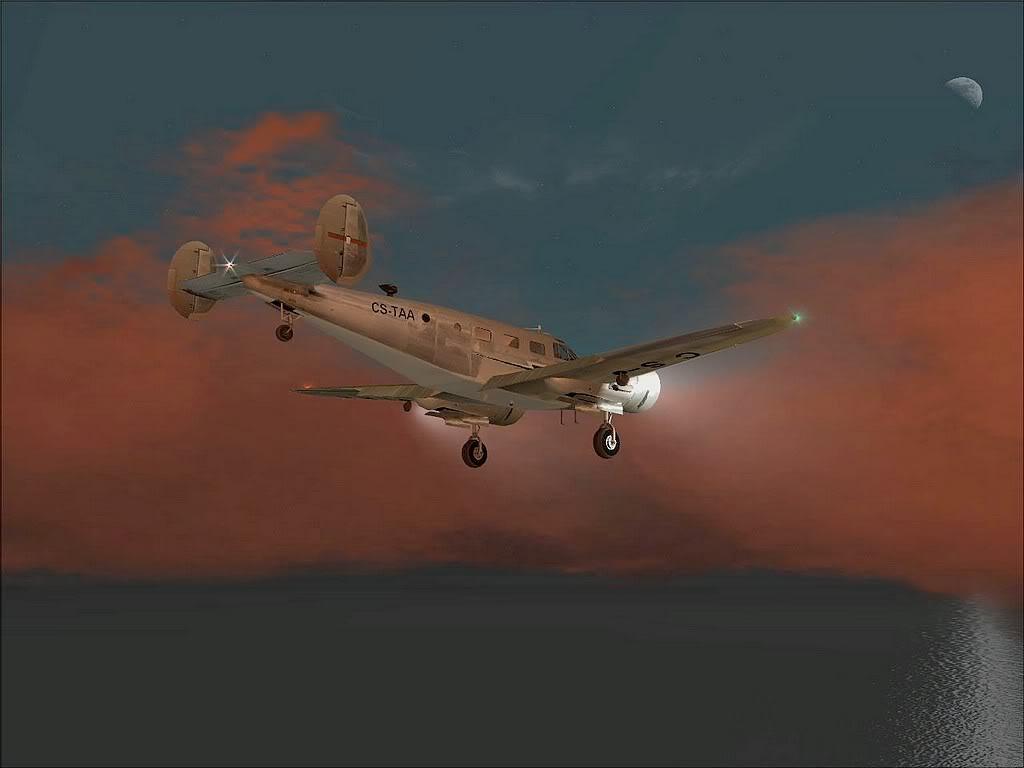 [FS9] - Beechcraft D18 da SATA voando ao fim da tarde nos Açores Beech_D18SATA04