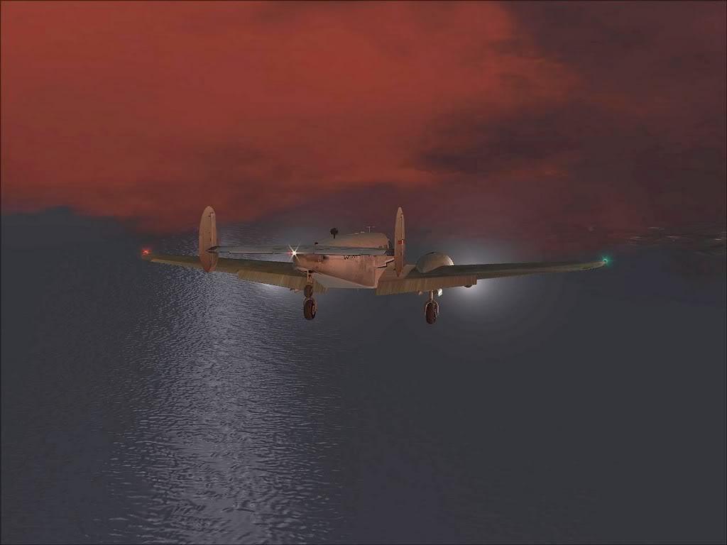[FS9] - Beechcraft D18 da SATA voando ao fim da tarde nos Açores Beech_D18SATA05