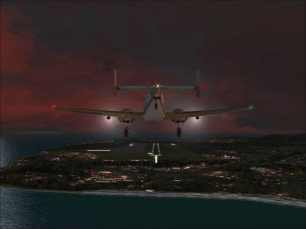 [FS9] - Beechcraft D18 da SATA voando ao fim da tarde nos Açores Beech_D18SATA06