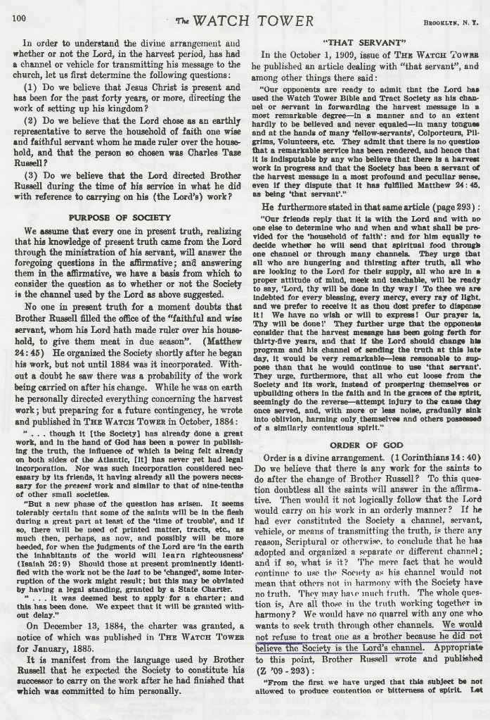 Desassociação, Tome Nota, Repreenção e Jesus Cristo TheWatchTower-1-4-1969pg100