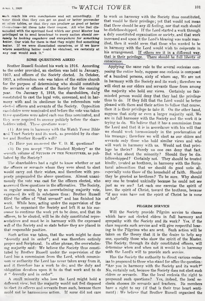 Desassociação, Tome Nota, Repreenção e Jesus Cristo TheWatchTower1-4-1969pg101