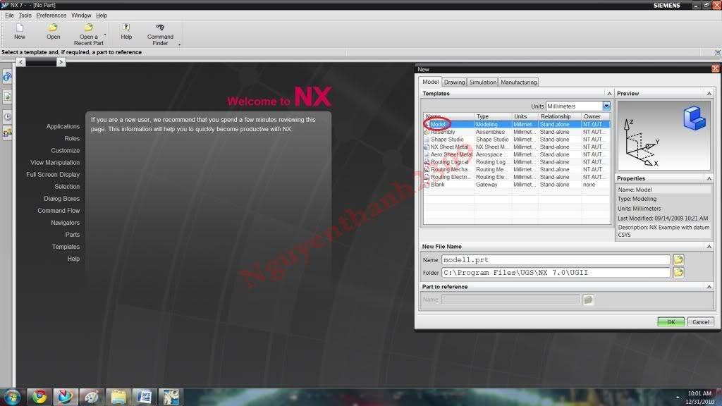 Hướng dẫn bài tập Unigraphic NX - Bài 1 NX_1