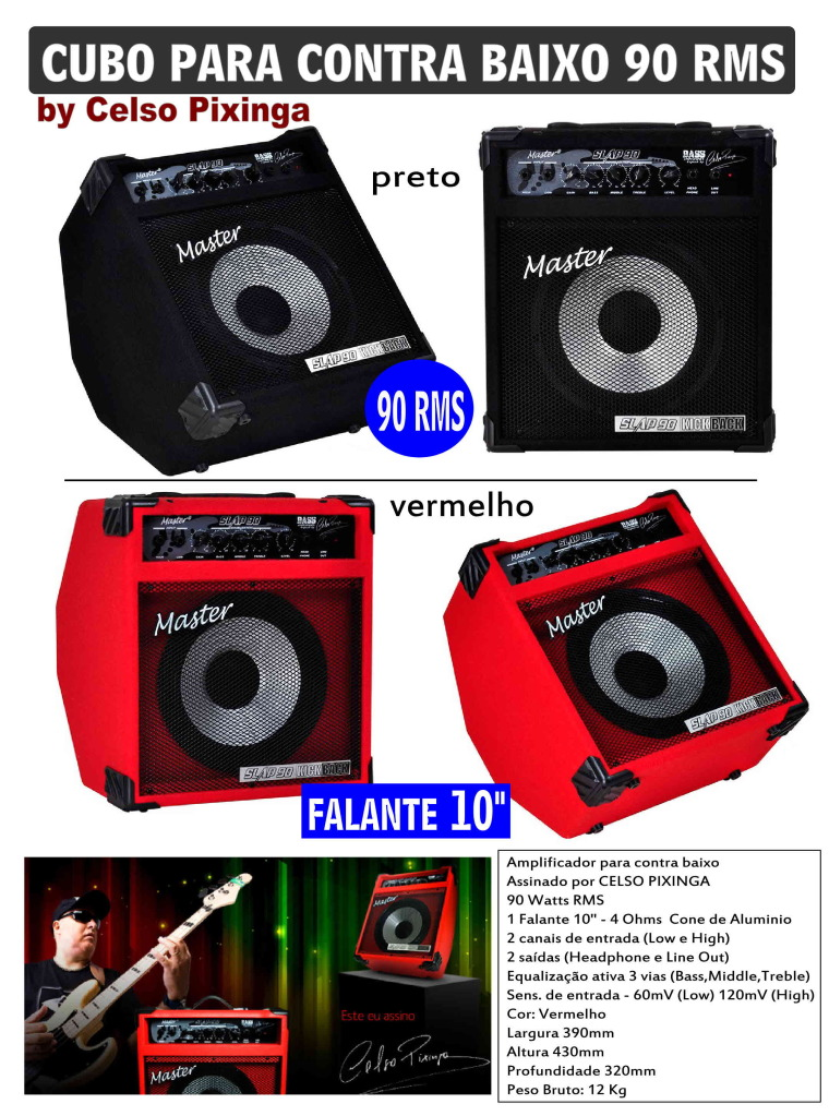 Amplificador Master, 90w Rms By Celso Pixinga Cubo100celso