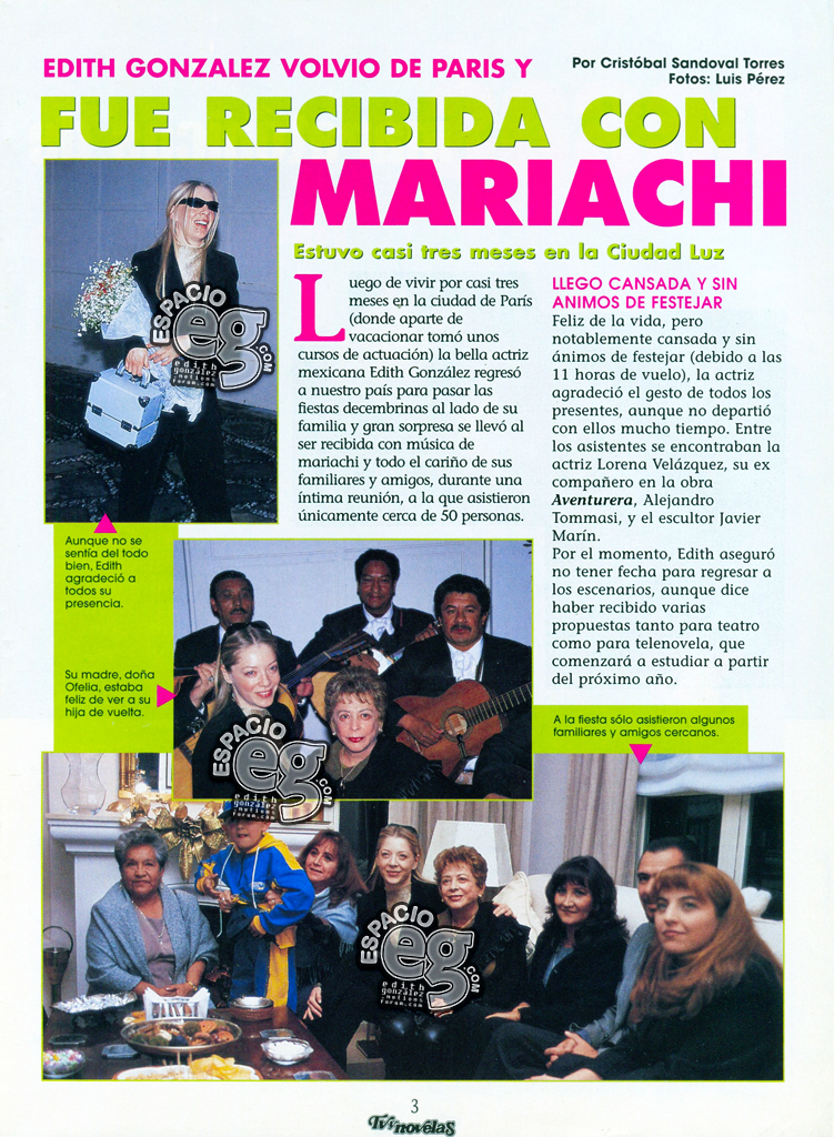 2001-01-02. [ SCAN ] Edith González volvió de Paris Paris