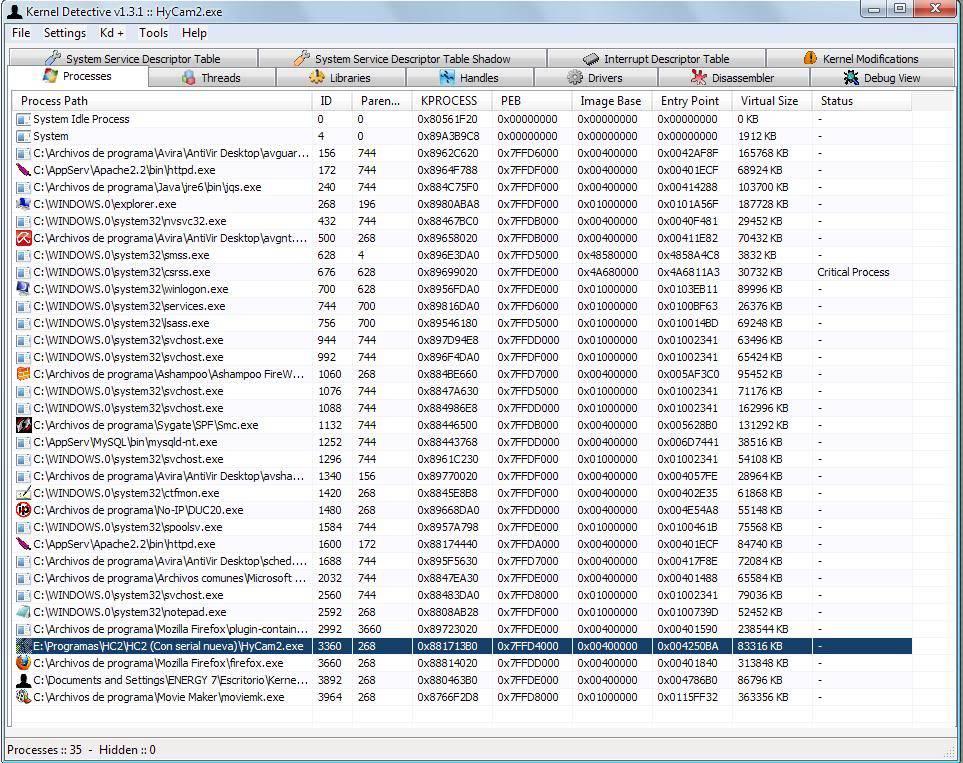 inyector para windows xp solo para novatos  UNDERHACK KernelDetective