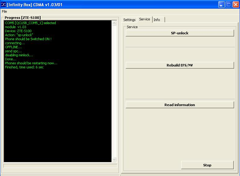 Logs of successfully unlocked/repaired phones by Infinity-Box CDMA-Tool  ZTE_S100